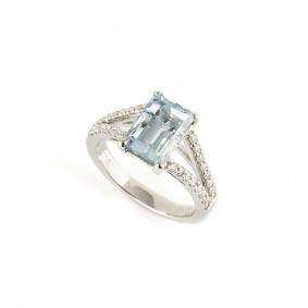 18k White Gold Aquamarine Diamond Ring 2.30ct